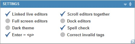 editor settings preferences